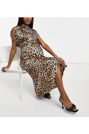 ASOS ASOS DESIGN Maternity satin midi tea dress with puff sleeves and belt in animal print-Multi