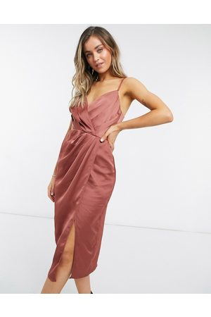 Little Mistress Satin wrap dress in chocolate-Gold