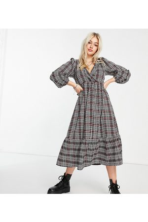 ASOS ASOS DESIGN Petite midi smock dress with frill neck and tiered hem in rust check print
