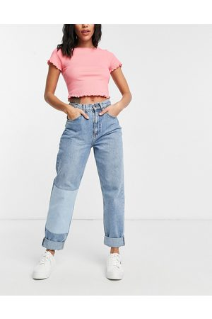 ASOS High rise 'slouchy' mom patchwork jeans in midwash-Blue
