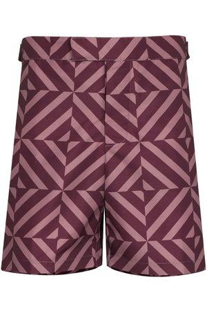 Frescobol Carioca Heren Shorts - Angra geometric-print swim shorts