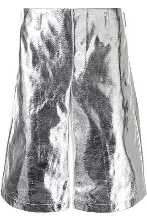 Comme des Garçons Heren Bermuda's - High-shine metallic shorts