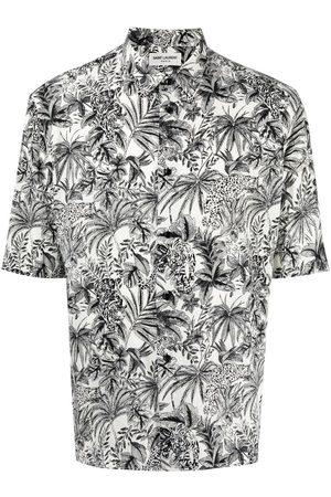 Saint Laurent Heren Korte mouw - Leaf-print short-sleeve shirt