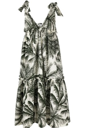 P.a.r.o.s.h. Palm tree print flared dress