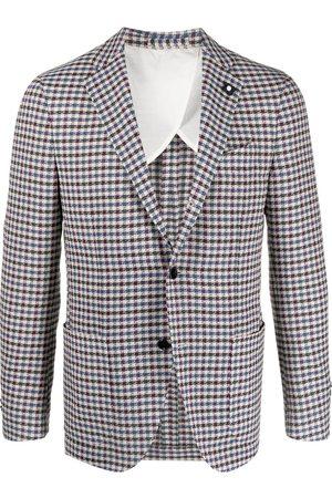 LARDINI Vichy check print blazer