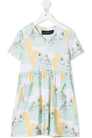 Mini Rodini Meisjes Casual jurken - Unicorn and ramen-print dress