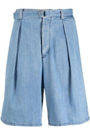 Armani Inverted pleat denim shorts
