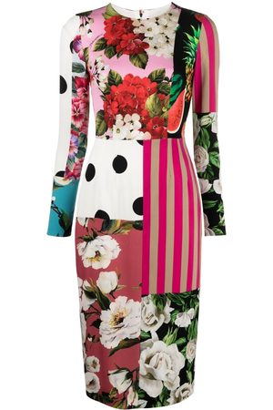 Dolce & Gabbana Patchwork-print charmeuse dress