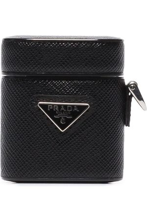 Prada Heren Telefoon hoesjes - Triangle-logo leather AirPods case