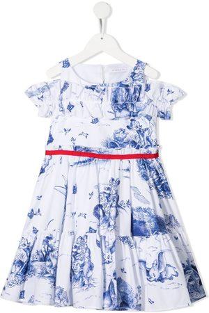 MONNALISA Disney-print cotton poplin dress