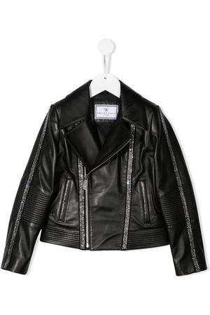Philipp Plein Meisjes Leren jassen - Logo zipped biker jacket