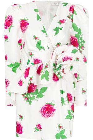 Alessandra Rich Floral print puff sleeve minidress