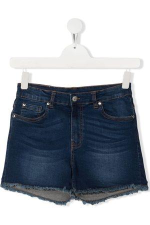 John Richmond Junior TEEN frayed-edge denim shorts