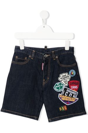 Dsquared2 Multi-logo patches denim shorts