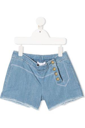 Chloé Meisjes Shorts - Side buttoned denim shorts