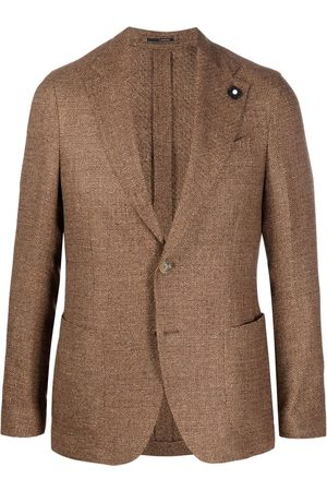LARDINI Grained single-breasted blazer