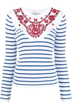 RED Valentino Dames Gebreide truien - Embroidered striped jumper