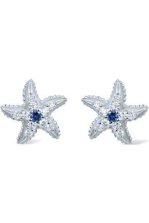 Carrera Dames Oorbellen - 18kt white gold diamond sapphire Estrella Marina earrings