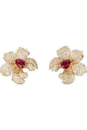 Carrera 18kt yellow orchid diamond and ruby earrings