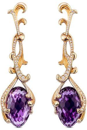 Carrera Dames Oorbellen - 18kt yellow Origen amethyst and diamond drop earrings