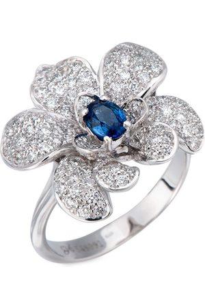 Carrera Dames Ringen - 18kt white gold flower diamond and blue sapphire ring