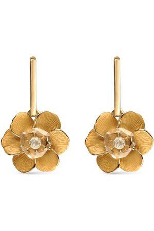 Carrera Dames Oorbellen - 18kt yellow quartz diamond Gardenias flower drop earrings