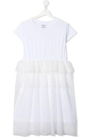 DOUUOD KIDS Meisjes Casual jurken - TEEN tulle-overlay cotton dress