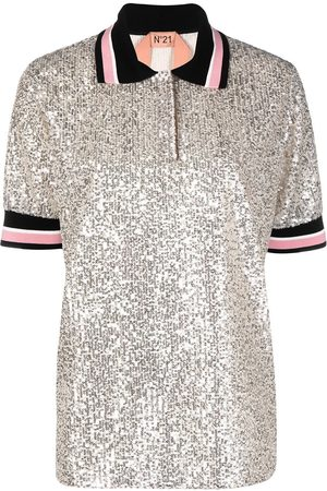 Nº21 Oversized sequinned polo shirt