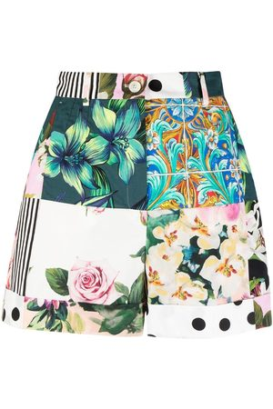 Dolce & Gabbana Patchwork print high-waisted shorts