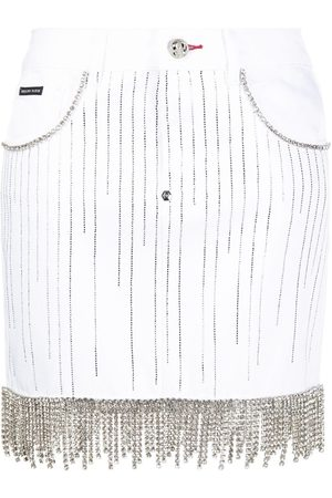 Philipp Plein Dames Jeansrokken - Crystal-embellished denim skirt