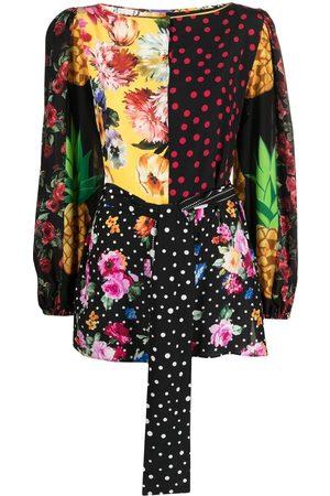Dolce & Gabbana Mix-print belted blouse