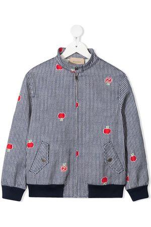 Gucci Pinstriped apple motif bomber jacket