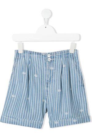 Gucci Meisjes Shorts - Pinstriped logo denim shorts