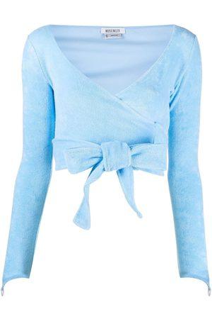Maisie Wilen Knitted wrap crop top