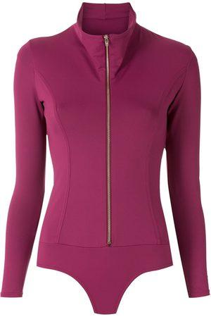 AMIR SLAMA Dames Bodysuits - Zipped long sleeves bodysuit