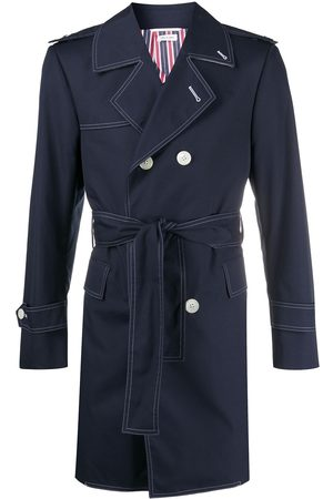 Thom Browne Heren Trenchcoats - Double-breasted belted trench coat
