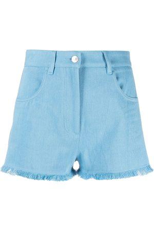 Msgm Frayed-hem denim shorts