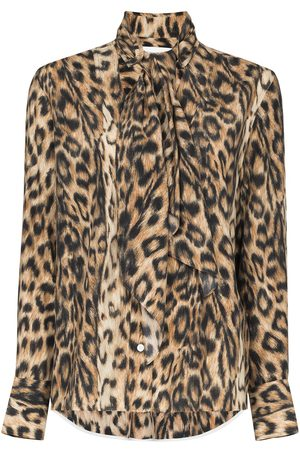 Victoria Beckham Leopard print scarf-neck shirt