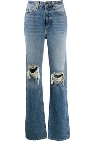 Khaite Dames Straight - Ripped high-rise straight jeans