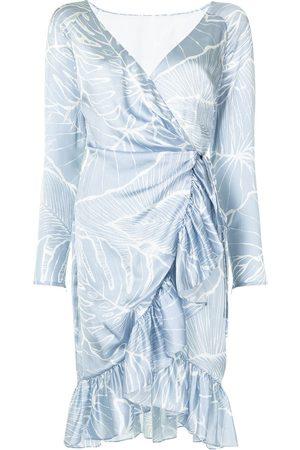 Marchesa Notte Dames Feestjurken - Leaf pattern wrap dress
