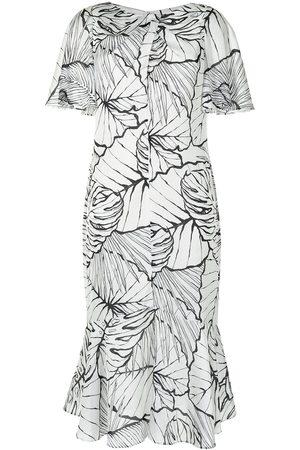 Marchesa Notte Leaf pattern midi dress