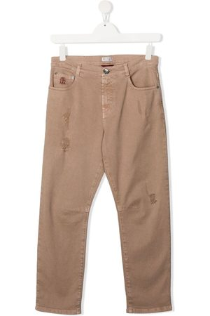 Brunello Cucinelli TEEN distressed high-waisted jeans