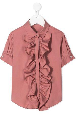 Brunello Cucinelli Meisjes Korte mouw - Ruffle short-sleeve shirt