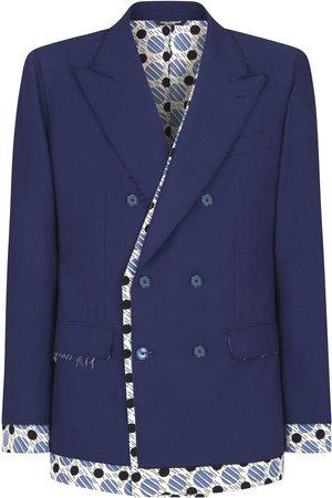 Dolce & Gabbana Tie-print trim double-breasted blazer
