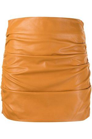 Michelle Mason Dames Kokerrokken - Ruched leather mini skirt