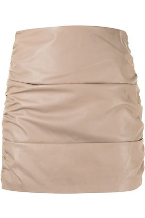 Michelle Mason Dames Korte rokken - Ruched leather mini skirt