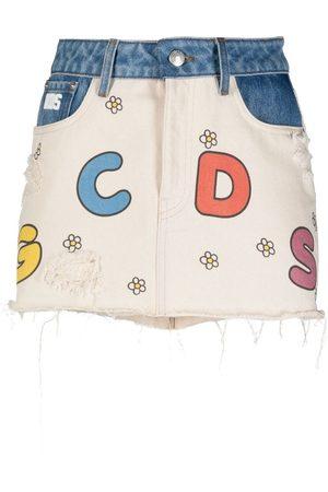 GCDS Little Miss Sunshine denim skirt
