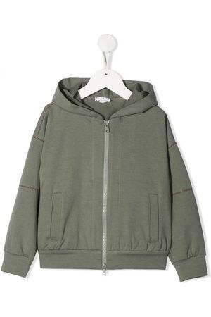 Brunello Cucinelli Meisjes Bomberjacks - Stud-embellished hooded jacket