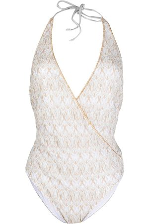 Missoni Signature-embroidered wrap one-piece
