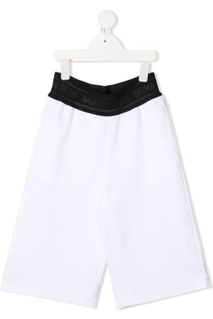 Balmain Meisjes Wijde broeken - Logo-waistband wide-leg trousers
